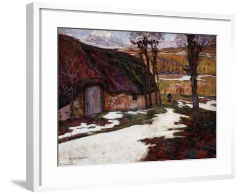 Peasant in Front of a Thatched Cottage; Paysanne Devant La Chaumiere-Victor Charreton-Framed Art Print