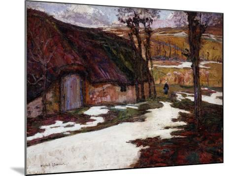 Peasant in Front of a Thatched Cottage; Paysanne Devant La Chaumiere-Victor Charreton-Mounted Giclee Print