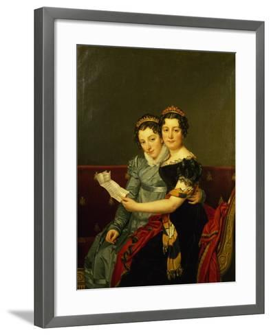 Zenaide and Carlotta, Daughters of King Joseph-Jacques-Louis David-Framed Art Print