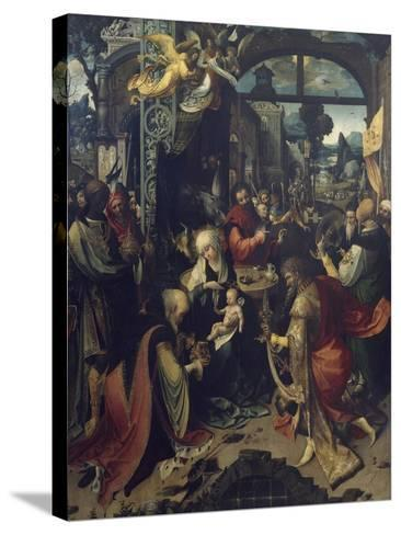 Birth of Jesus, Central Panel of Triptych-Jan de Beer-Stretched Canvas Print