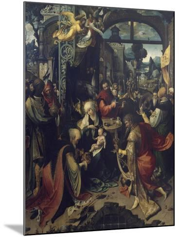 Birth of Jesus, Central Panel of Triptych-Jan de Beer-Mounted Giclee Print
