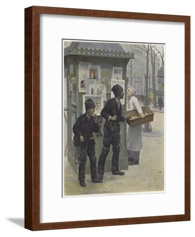 Two Young Chimney Sweeps Stealing Cakes from a Baker's Basket-Paul Charles Chocarne-moreau-Framed Art Print