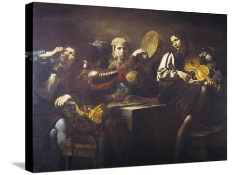 Musicians and Soldiers, Circa 1626-Valentin de Boulogne-Stretched Canvas Print