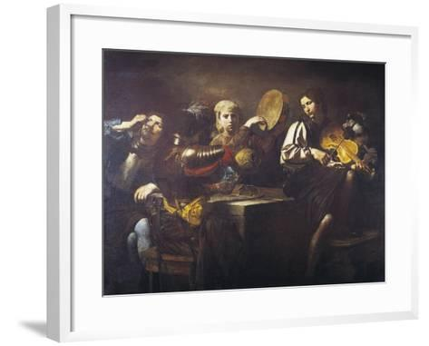 Musicians and Soldiers, Circa 1626-Valentin de Boulogne-Framed Art Print
