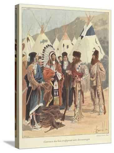 Trappers Trading with Native Americans, New France-Louis Charles Bombled-Stretched Canvas Print