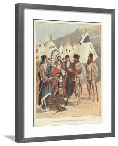 Trappers Trading with Native Americans, New France-Louis Charles Bombled-Framed Art Print