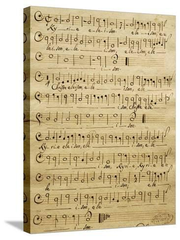 Handwritten Score for Bass of Mass for Three Voices-Tomaso Albinoni-Stretched Canvas Print
