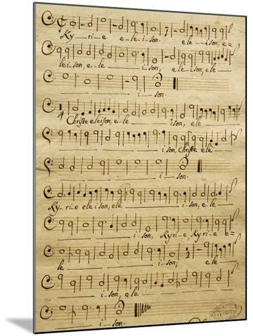 Handwritten Score for Bass of Mass for Three Voices-Tomaso Albinoni-Mounted Giclee Print