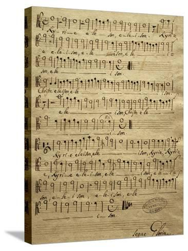 Handwritten Score for Tenor of Mass for Three Voices-Tomaso Albinoni-Stretched Canvas Print