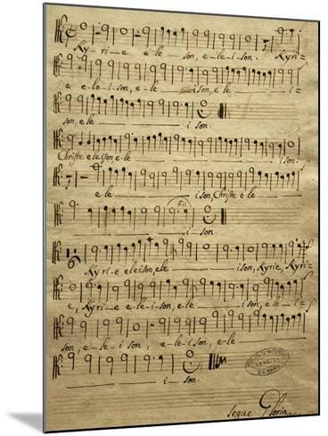 Handwritten Score for Tenor of Mass for Three Voices-Tomaso Albinoni-Mounted Giclee Print