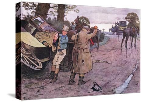 """Love to Tuppy, Won't You Get Up Behind?-""""Drive on Boys"""" Replied Jingle-Cecil Aldin-Stretched Canvas Print"""