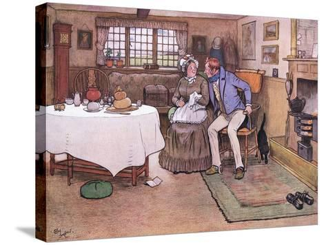 She Looked Up at Toms Face and Smiled Through Her Tears-Cecil Aldin-Stretched Canvas Print