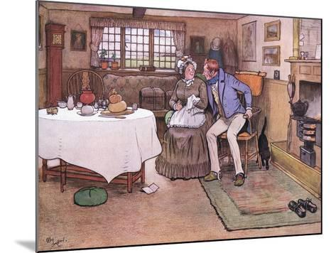 She Looked Up at Toms Face and Smiled Through Her Tears-Cecil Aldin-Mounted Giclee Print