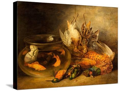 Still Life, Game and Hanging Snipe with Goldfish in a Bowl-Benjamin Blake-Stretched Canvas Print