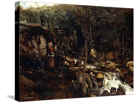 Lormes - a Torrent with a Standing Peasant, Spinning Wool, 1842-Jean-Baptiste-Camille Corot-Stretched Canvas Print