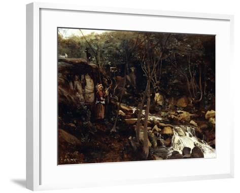 Lormes - a Torrent with a Standing Peasant, Spinning Wool, 1842-Jean-Baptiste-Camille Corot-Framed Art Print