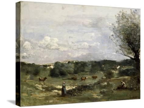 Meadow with Cows, a Willow on the Right and a Distant Village-Jean-Baptiste-Camille Corot-Stretched Canvas Print