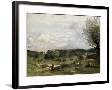 Meadow with Cows, a Willow on the Right and a Distant Village-Jean-Baptiste-Camille Corot-Framed Art Print