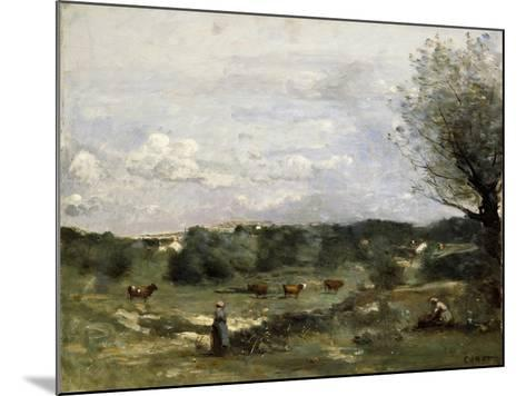 Meadow with Cows, a Willow on the Right and a Distant Village-Jean-Baptiste-Camille Corot-Mounted Giclee Print