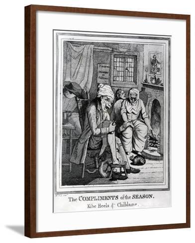 The Compliments of the Season, Kibe Heels and Chillblains, C.1785-Henry William Bunbury-Framed Art Print