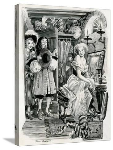 King Charles II Visiting Nell Gwynn in Her Dressing Room-Peter Jackson-Stretched Canvas Print