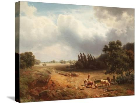 Wooded Landscape with a Shepherdess and Her Cattle, 1862-Heinrich Hofer-Stretched Canvas Print