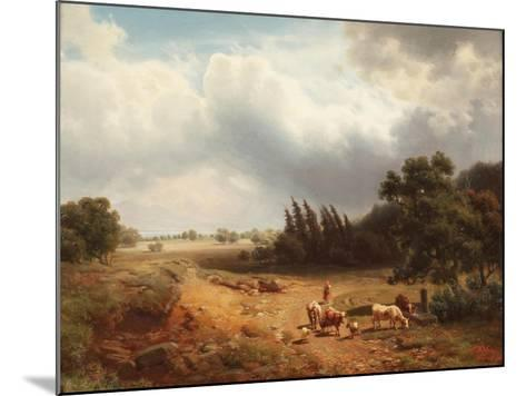 Wooded Landscape with a Shepherdess and Her Cattle, 1862-Heinrich Hofer-Mounted Giclee Print