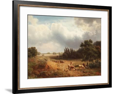 Wooded Landscape with a Shepherdess and Her Cattle, 1862-Heinrich Hofer-Framed Art Print
