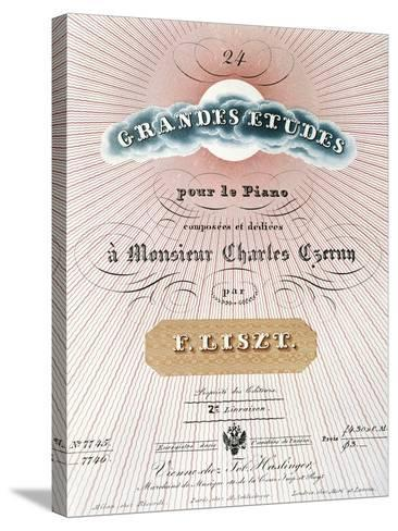 Title Page of Score for Great Studies for Piano-Franz Liszt-Stretched Canvas Print