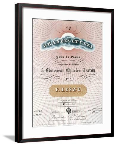 Title Page of Score for Great Studies for Piano-Franz Liszt-Framed Art Print