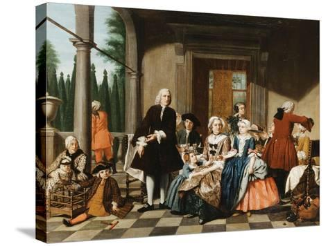 Portrait of a Family Dining on a Portico, a Formal Garden Beyond, 1747-Jan Josef the Younger Horemans-Stretched Canvas Print