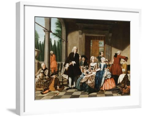 Portrait of a Family Dining on a Portico, a Formal Garden Beyond, 1747-Jan Josef the Younger Horemans-Framed Art Print