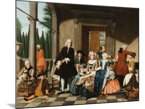 Portrait of a Family Dining on a Portico, a Formal Garden Beyond, 1747-Jan Josef the Younger Horemans-Mounted Giclee Print