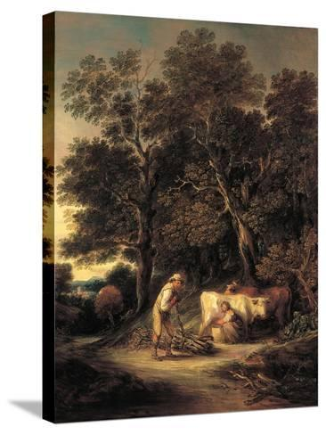Wooded Landscape with Milkmaid and Woodman, or 'Rural Courtship', C.1792-Gainsborough Dupont-Stretched Canvas Print