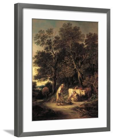 Wooded Landscape with Milkmaid and Woodman, or 'Rural Courtship', C.1792-Gainsborough Dupont-Framed Art Print