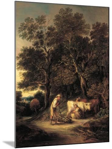 Wooded Landscape with Milkmaid and Woodman, or 'Rural Courtship', C.1792-Gainsborough Dupont-Mounted Giclee Print