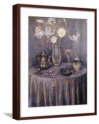 The Table, Gray Harmony; La Table, Harmonie Grise, 1927-Henri Eugene Augustin Le Sidaner-Framed Art Print