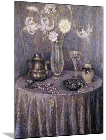 The Table, Gray Harmony; La Table, Harmonie Grise, 1927-Henri Eugene Augustin Le Sidaner-Mounted Giclee Print