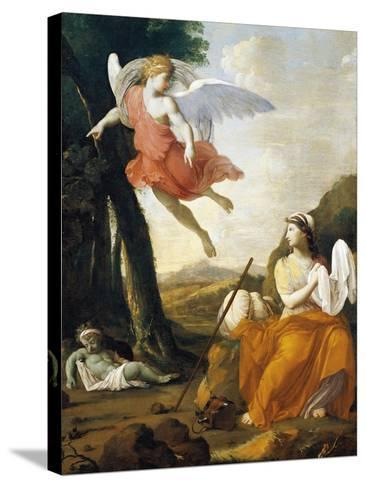 Hagar and Ishmael Saved by an Angel-Eustache Le Sueur-Stretched Canvas Print