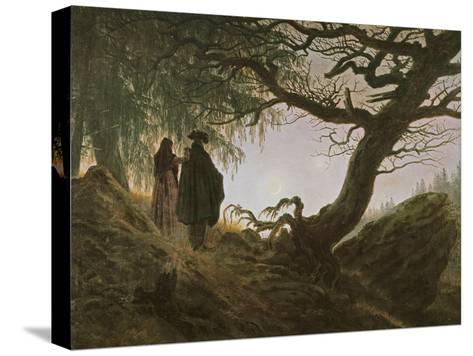 A Man and Woman Contemplating Moon-Caspar David Friedrich-Stretched Canvas Print