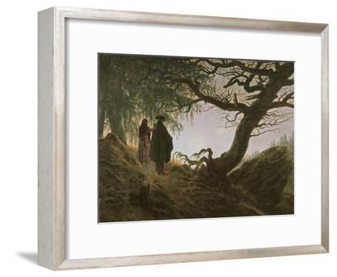 A Man and Woman Contemplating Moon-Caspar David Friedrich-Framed Art Print