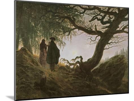 A Man and Woman Contemplating Moon-Caspar David Friedrich-Mounted Giclee Print