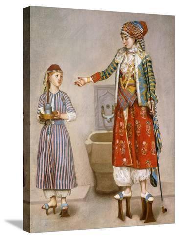 A Woman in Turkish Costume in a Hamam Instructing Her Servant-Jean-Etienne Liotard-Stretched Canvas Print