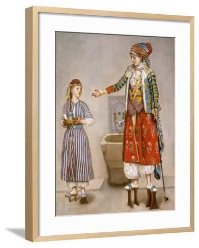 A Woman in Turkish Costume in a Hamam Instructing Her Servant-Jean-Etienne Liotard-Framed Art Print