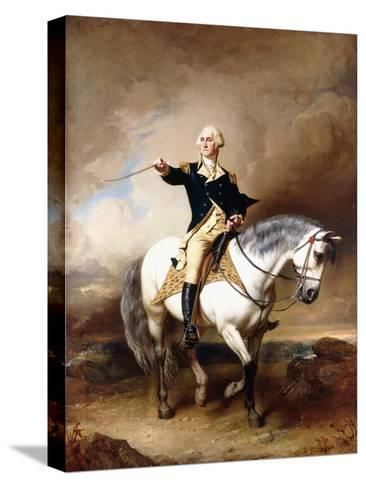 Portrait of George Washington Taking the Salute at Trenton-John Faed-Stretched Canvas Print