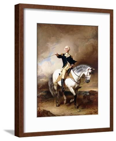 Portrait of George Washington Taking the Salute at Trenton-John Faed-Framed Art Print
