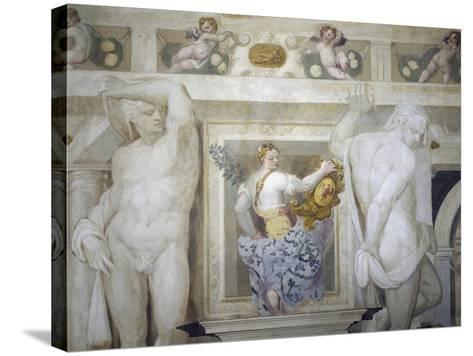 Female Figure Holding Up Caldogno Family Crest-Giovanni Antonio Fasolo-Stretched Canvas Print