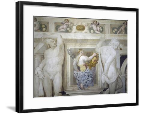 Female Figure Holding Up Caldogno Family Crest-Giovanni Antonio Fasolo-Framed Art Print