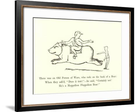 There Was an Old Person of Ware, Who Rode on the Back of a Bear-Edward Lear-Framed Art Print