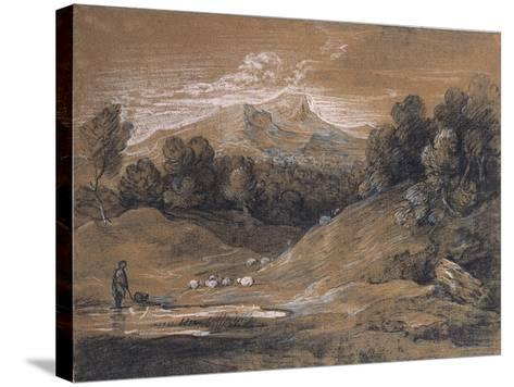 Upland Landscape with Shepherd, Sheep and Cattle, C.1783-Thomas Gainsborough-Stretched Canvas Print
